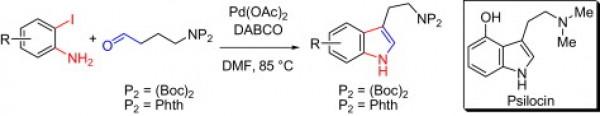 4. Chunmei Hu, H. Q. Y. C., Palladium-catalyzed synthesis of tryptamines and tryptamine homologues: synthesis of psilocin. Tetrahedron 2009, 65, (45), 9075-9080.