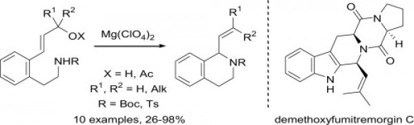 16. Danfeng Jiang, Z. X. Y. J., Mg(ClO4)2-catalyzed intramolecular allylic amination: application to the total synthesis of demethoxyfumitremorgin C. Tetrahedron 2012, 68, (22), 4225-4232.